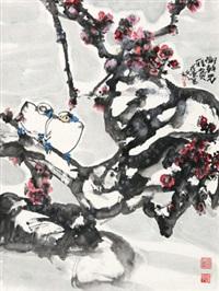 红梅双禽 by jiang wenzhan