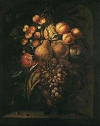 stilleben med frukter i nisch by hendrik schoock