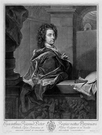 selbstbildnis des malers hyacinthe rigaud (after rigaud) by gérard edelinck