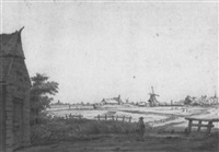 weite holländische landschaft mit mühlen und bauernhäusern am horizont by jan hulswit