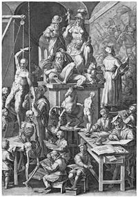 die akademie der schönen künste (after stradanus) by cornelis cort