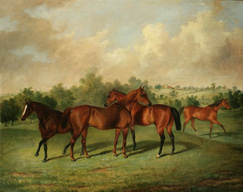 horses in a rolling countryside by george henry laporte