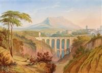 italienische landschaft mit aquädukt by carl martin laeisz