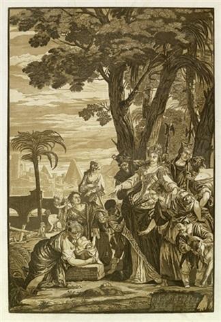 die auffindung des moses der bethlehemitische kindermord 2 works after paolo veronese  by john baptist jackson