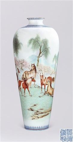 薄胎粉彩八骏图大梅瓶 horse by zhang jian