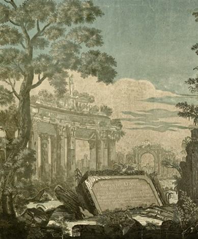 heroische landschaft mit antiken ruinen und einer widmung an robert darcy after marco ricci by john baptist jackson