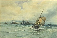 a harbor scene with a fishing boat in the foreground by albert ernest marks
