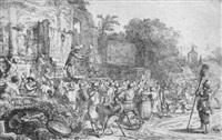der dorfsjahrmarkt mit den beiden scharlatanen, im hintergrund der kirchturm von eindhoven by constantijn daniel van renesse