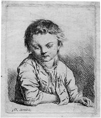 knabe, die rechte in die jacke gesteckt (+ alter, bärtiger mann, die hände auf einem stock gestützt; 2 works) by johann gottlieb glume