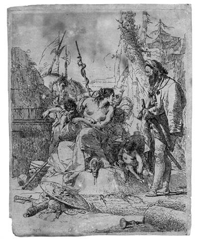 nymphe mit zwei kindern umgeben von vier männern pl3 from scherzi di fantasia by giovanni battista tiepolo