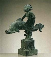 pojke pa delfin - fontanfigur by per emil näsvall