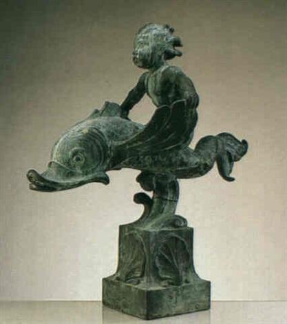 pojke pa delfin fontanfigur by per emil näsvall