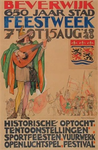 beverwijk 650 jaar stad (poster design) (+ 3 costume designs; 4 works) by herman moerkerk