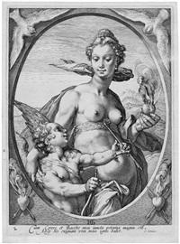 venus und amor; ceres (2 works) (from bacchus, venus und ceres (sine cerere et baccho friget venus)) by hendrik goltzius