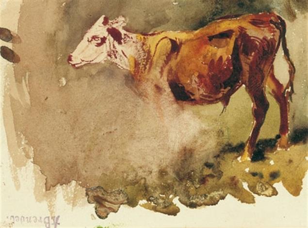 studienblatt mit einem jungen stier by albert heinrich brendel