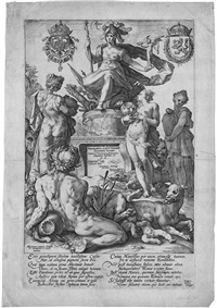 die römischen helden: allegorie roms, horatius cocles, mucius scaevola, marcus curtius, titus manlius (5 works of 10) (from die römischen helden) by hendrik goltzius