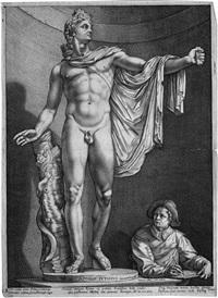 apollo pythius (der apoll von belvedere mit dem jungen zeichner) by hendrik goltzius