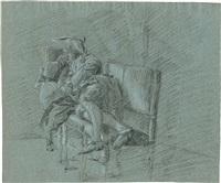 schlafender kavalier mit dreispitz. schwarze und weiße by gerrit zegelaar