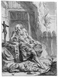 der büßende hl. hieronymus in der einöde by gottfried bernhard goetz