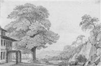 landschaft mit bäumen und felsen, links eine villa mit pergola by johann philipp eduard gaertner