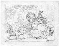 schillers kampf mit dem drachen (der lindwurm) (7 works) by friedrich moritz august retzsch