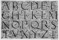 drei alphabete mit römischen und deutschen majuskeln (3 works) by daniel hopfer
