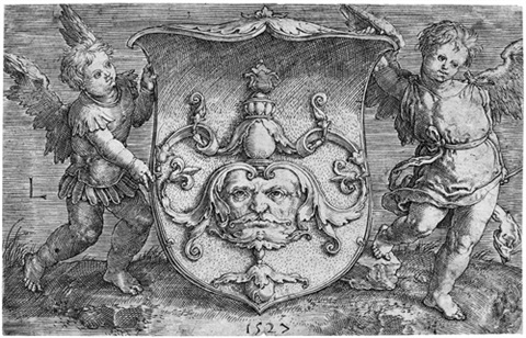das wappen mit der maske 2 others 3 works by lucas van leyden
