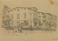 ansicht einer berliner villa an einer straße by johann philipp eduard gaertner