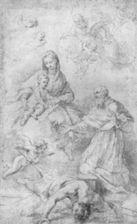 maria mit dem kinde, von einem geistlichen verehrt, darüber gottvater mit der heilig-geist-taube by felix ivo leicher