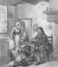 kücheninterieur mit am tisch sitzenden altem bauern, der sich mit einer magd unterhält by adriaen de lelie