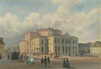 großherzogliches hoftheater karlsruhe, im hintergrund die orangerie by caspar obach