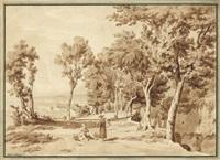 landschaft mit zwei rastenden und blick auf den golf von neapel by wilhelm jakob huber