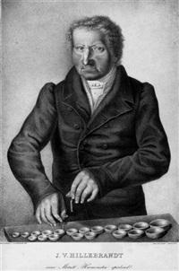 j.v. hillebrandt metallharmonika spielend by johann heinrich hillebrandt