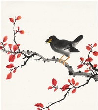 八哥红叶图 (chinese painting & calligraphy) by yang cun