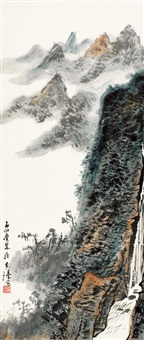 峡间帆影图 (chinese painting & calligraphy) by luo buzhen