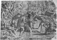 der listige simon und die hirten im trojanischen lager (after luca penni) (from szenen aus dem trojanischen krieg) by jean mignon