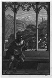 laute spielender jüngling in einer gotischen halle, mit blick auf eine gebirgslandschaft by august karl friedrich von kloeber
