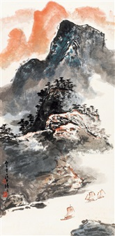 青山叠翠图 (chinese painting & calligraphy) by luo buzhen