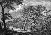 waldlichtung mit sturmgepeitschten bäumen by franciscus andreas milatz