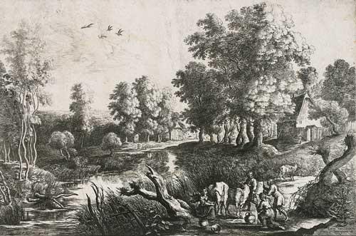 bauern mit kühen nahe eines baches after pp rubens by lucas van uden