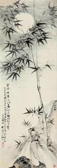 月下萧竹图 by liu zigu