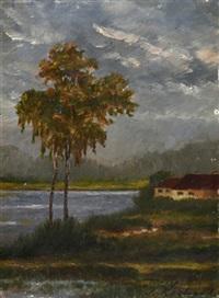 zwei birken und haus am see by julius kockert