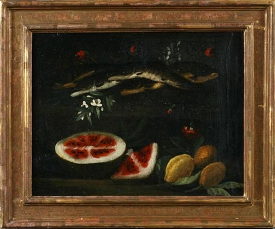 stilleben mit fischen melone und zitronen zwischen blumen by cristoforo munari