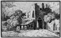 landschaft mit einer gotischen ruine by michael neher