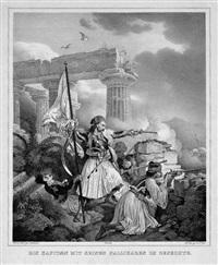 ein kapitän mit seinen pallikaren im gefecht (+ anagnostaras schlägt die türken bei tripolitza; 2 works) by peter heinrich lambert von hess