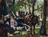 bauer mit pferdefuhrwerk im wald by josef steib