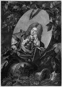 bildnis des malers christoph ludwig agricola im medaillon von weinlaub umrankt (after rosalba carriera) by bernhard vogel