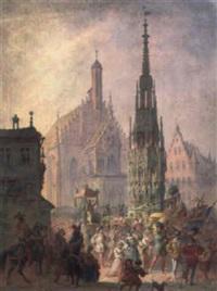 mittelalterliche heiligenprozession vor dem schönen brunnen in nürnberg by johann maar