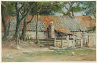 barnyard with old shed by johannes evert hendrik akkeringa