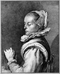 porträt der maria tesselschade (after goltzius) by cornelis (jacob c.) ploos van amstel